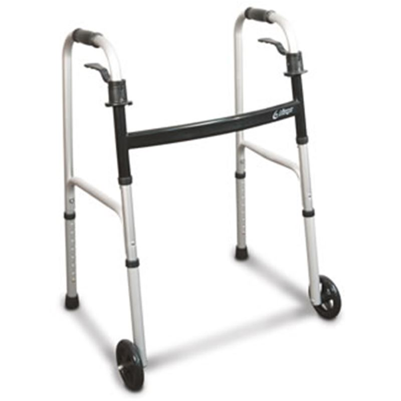"Picture of Airgo Folding Walker With Paddle Release, Silver, Adult 32"" - 39"""