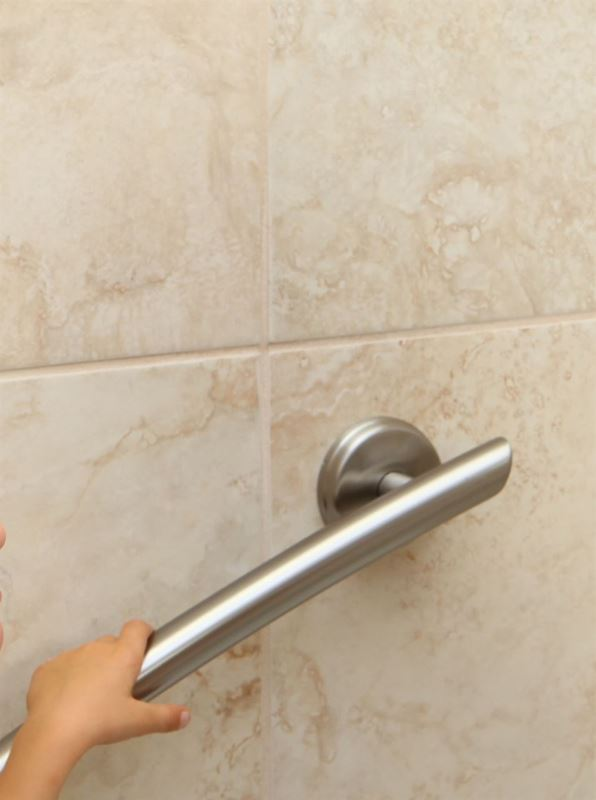 """Picture of 16"""" Curved Grab Bar (Brushed Nickel)"""
