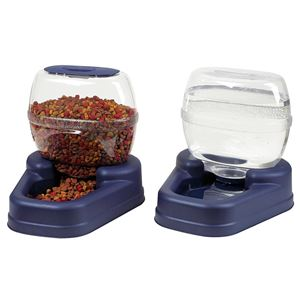 "Picture of Bergan Petite Gourmet Combo Pack Pet Feeder and Waterer Blue 13"" x 11.5"" x 11.25"" each"