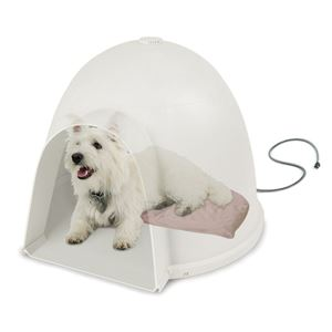 "Picture of K&H Pet Products Lectro-Soft Igloo Style Bed Small Beige 11.5"" x 18"" x 1.5"""