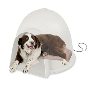 "Picture of K&H Pet Products Lectro-Soft Igloo Style Bed Large Beige 17.5"" x 30"" x 1.5"""
