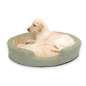 """Picture of K&H Pet Products Thermo Snuggly Sleeper Oval Pet Bed Large Sage 31"""" x 24"""" x 5.5"""""""