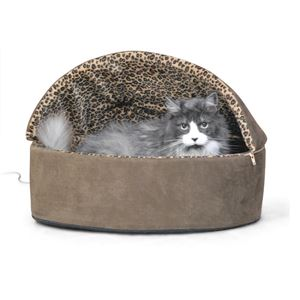 """Picture of K&H Pet Products Thermo-Kitty Bed Deluxe Hooded Small Mocha 16"""" x 16"""" x 14"""""""