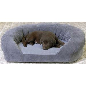 "Picture of K&H Pet Products Ortho Bolster Sleeper Pet Bed Large Gray Velvet 40"" x 33"" x 9.5"""