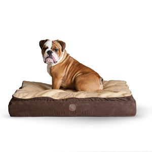 """Picture of K&H Pet Products Feather Top Ortho Pet Bed Small Chocolate / Tan 20"""" x 30"""" x 6.5"""""""