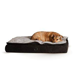 "Picture of K&H Pet Products Feather Top Ortho Pet Bed Small Black / Gray 20"" x 30"" x 6.5"""