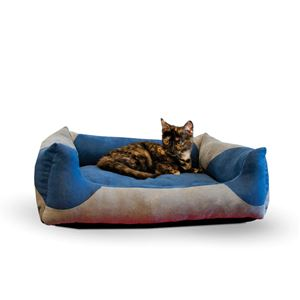 "Picture of K&H Pet Products Classy Lounger Pet Bed Large Gray / Blue 28"" x 32"""
