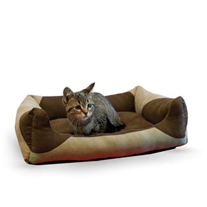"""Picture of K&H Pet Products Classy Lounger Pet Bed Large Tan / Chocolate 28"""" x 32"""""""