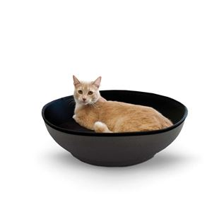 """Picture of K&H Pet Products Mod Half-Pod Cat Bed Gray / Black 22"""" x 22"""" x 6.25"""""""