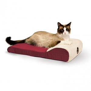"""Picture of K&H Pet Products Ultra Memory Chaise Pet Lounger Red 14""""  x 22"""" x 4"""""""