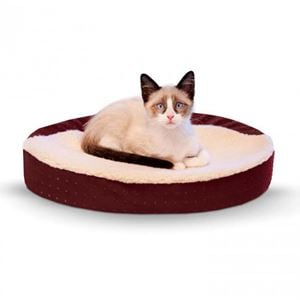 """Picture of K&H Pet Products Ultra Memory Foam Oval Pet Cuddle Nest Red 13"""" x 19"""" x 4"""""""