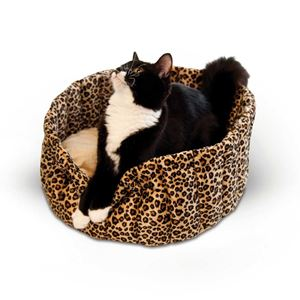 "Picture of K&H Pet Products Lazy Cup Cat Bed Small Leopard 16"" x 16"" x 7"""