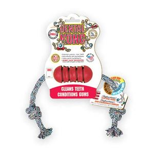 "Picture of Kong Dental Kong with Rope Dog Toy Small Red 6.5"" x 5.8"" x 1.5"""