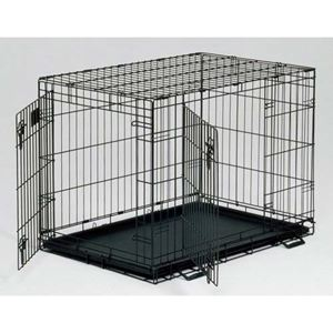 "Picture of Midwest Life Stages Double Door Dog Crate Black 48"" x 30"" x 33"""