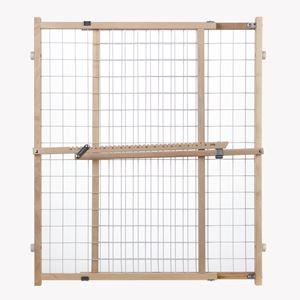 "Picture of North States Wide Wire Mesh Pet Gate White, Wood 29.5"" - 50"" x 32"""