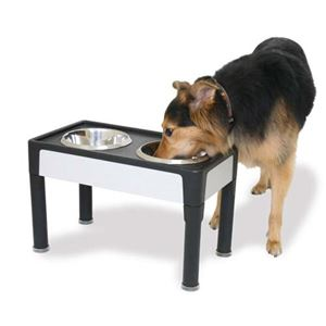 "Picture of Our Pets Signature Series Dog Elevated Panel Feeder Black / Gray 23"" x 12.5"" x 8"""