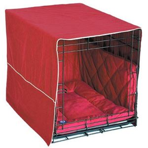 "Picture of Pet Dreams Classic Cratewear Dog Crate Cover Small Burgundy 24"" x 18"""