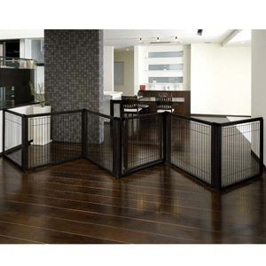 "Picture of Richell Convertible Elite Pet Gate 6 Panel Black 197.5"" x 0.8"" x 31.5"""