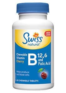 Picture of Vitamin B12 & B6+Folic Acid Chew Tablets Cherry (100 Tablets)