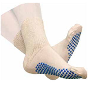 Picture of Diabetic Slipper Socks With Grip Soles Men's Black Size 10-13