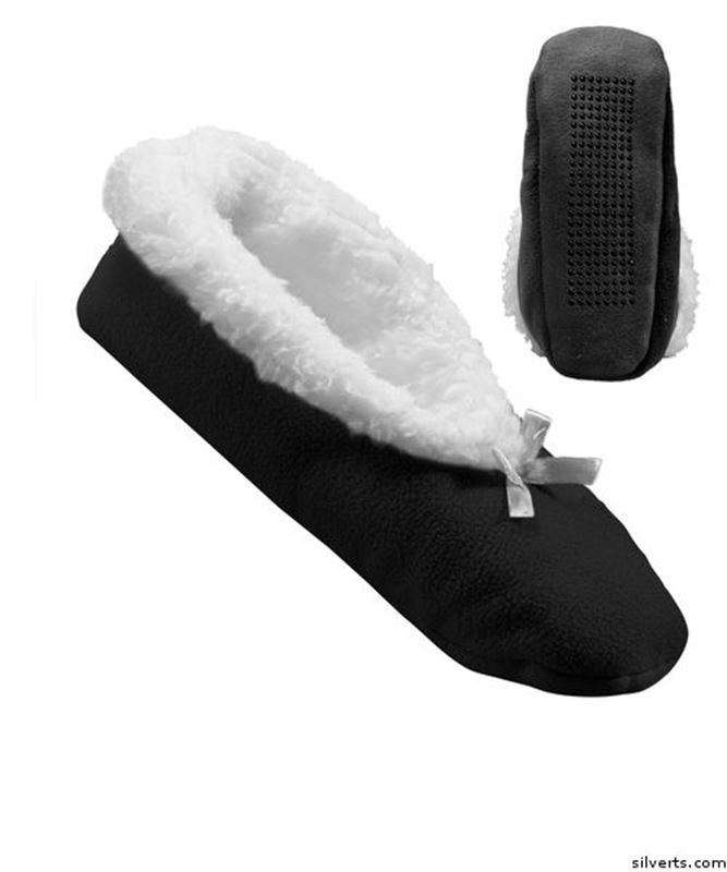 Picture of Extra Wide Fleece Slippers For Women - Slip-Resistant Tread