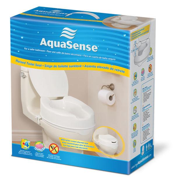 "Aquasense Raised Toilet Seat With Lid, 4"""