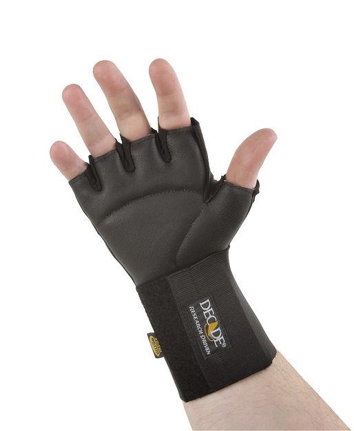Anti-Vibration Half Finger Wheelchair Gloves with Cuff-X-Small-Medium, Left