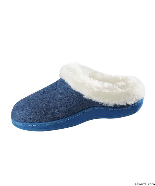Narrow Slip On Fur Slippers with Cushion Insoles