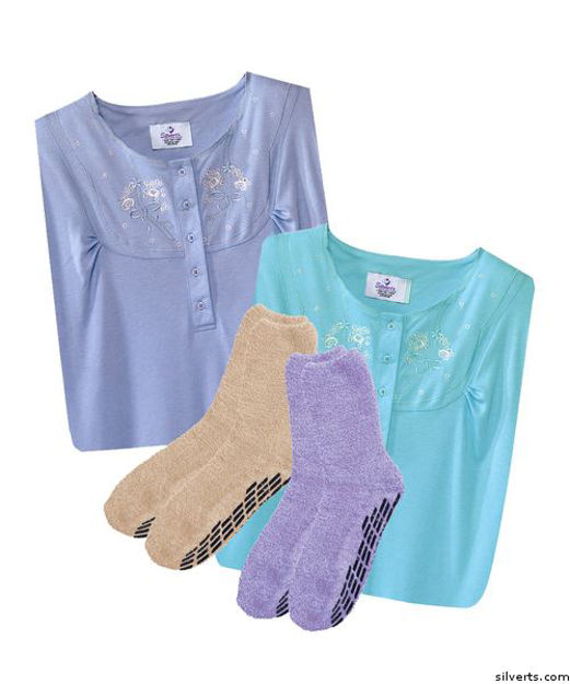 Gift Pack - 2 Socks - Non Skid & 2 Pretty Cotton Gowns