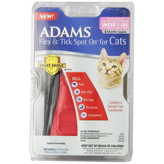 Adams Plus Flea and Tick Spot on Cats Under 5 lbs. 3 Month Supply
