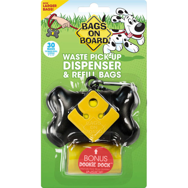 Bags on Board Waste Pick-Up Dispenser and Refill Bags with Dookie Dock 30 bags Black