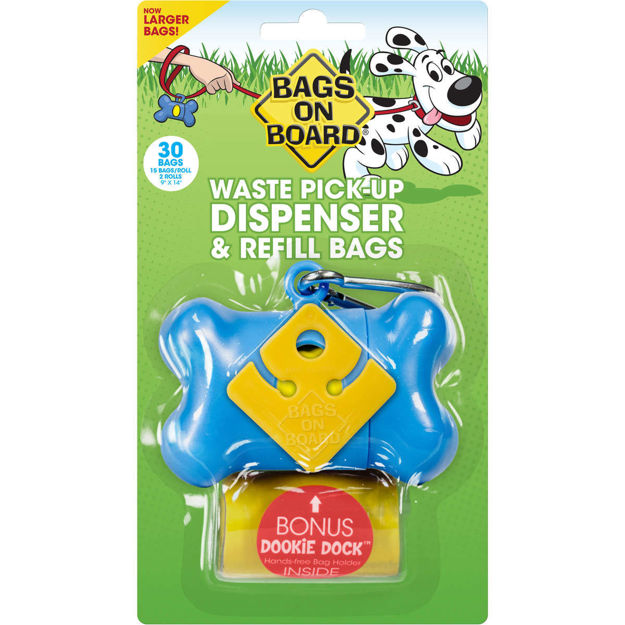 Bags on Board Waste Pick-Up Dispenser and Refill Bags with Dookie Dock 30 bags Blue