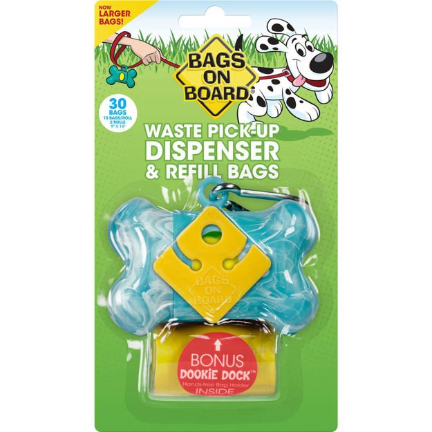 Bags on Board Waste Pick-Up Dispenser and Refill Bags with Dookie Dock 30 bags Turquoise