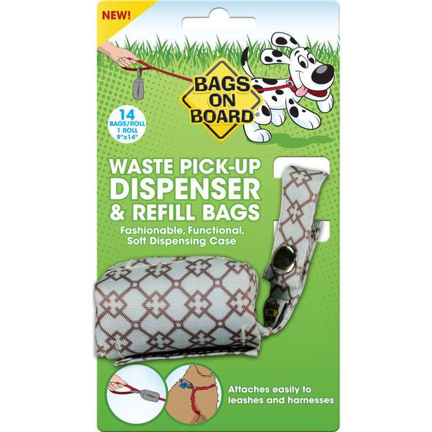 Bags on Board Fashion Dispenser and Poop Bag Refills Chevron Print 14 bags Blue