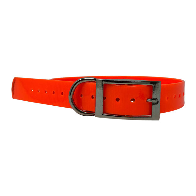 """The Buzzard's Roost Replacement Collar Strap 1"""" Orange 1"""" x 24"""""""