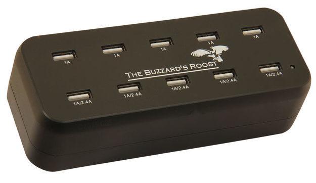 "The Buzzard's Roost 10 Port Multi Charger for Garmin Alpha, DC50, TT10, T5 or TT15 Black 6"" x 2.5"" x 2.5"""