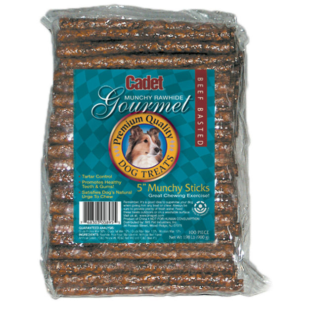 Cadet Rawhide Munchy Sticks Beef Basted 5 inches 100 pack