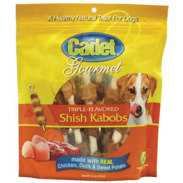 Cadet Gourmet Rawhide Shish Kabob Triple Flavor Treats Chicken, Duck and Sweet Potato 12 ounces