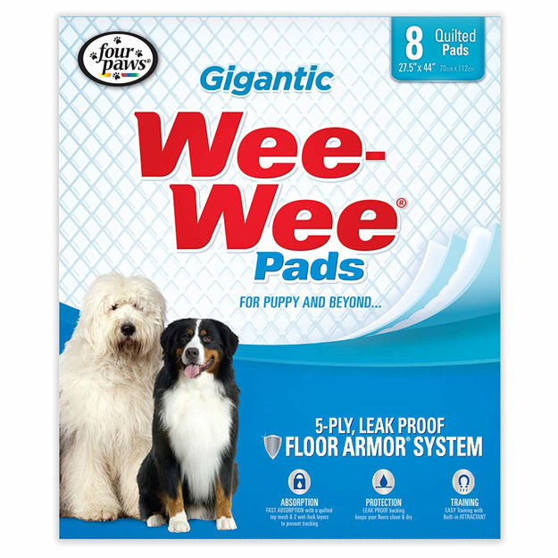 """Four Paws Wee-Wee Pads 8 pack Gigantic White 27.5"""" x 44"""" x 0.1"""""""
