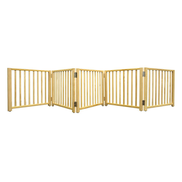 "Four Paws Smart Design Folding Freestanding Gate 5 Panel Beige 48"" - 110"" x 1"" x 17"""