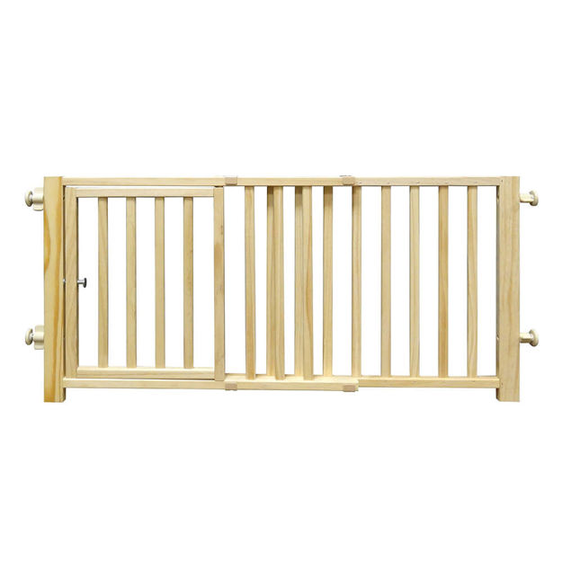 "Four Paws Smart Design Walkover Pressure Mounted Gate with Door Beige 30"" - 44"" x 1"" x 18"""