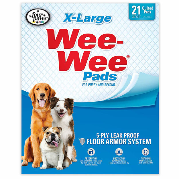 """Four Paws Wee-Wee Pads 21 pack Extra Large White 28"""" x 34"""" x 0.1"""
