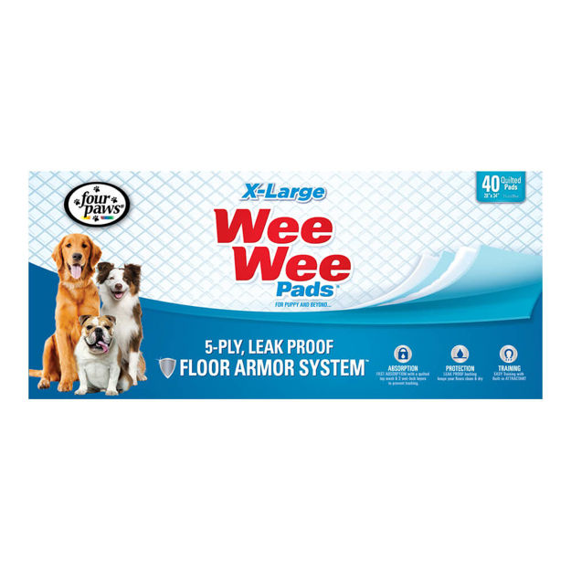 """Four Paws Wee-Wee Pads 40 pack Extra Large White 28"""" x 34"""" x 0.1"""