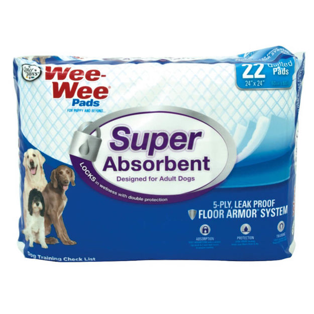 "Four Paws Wee-Wee Super Absorbent Pads 22 count White 24"" x 24"" x 0.1"""