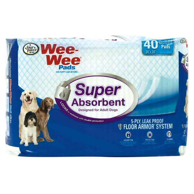 """Four Paws Wee-Wee Super Absorbent Pads 40 count White 24"""" x 24"""" x 0.1"""""""
