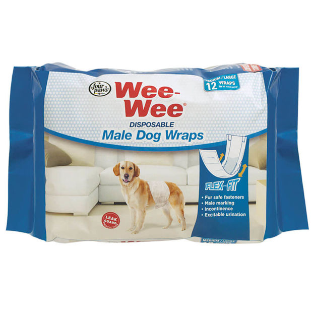 Four Paws Wee-Wee Disposable Male Dog Wraps 12 pack Medium / Large White