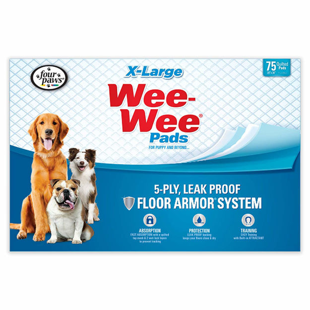 """Four Paws Wee-Wee Pads 75 pack Extra Large White 28"""" x 34"""" x 0.1"""