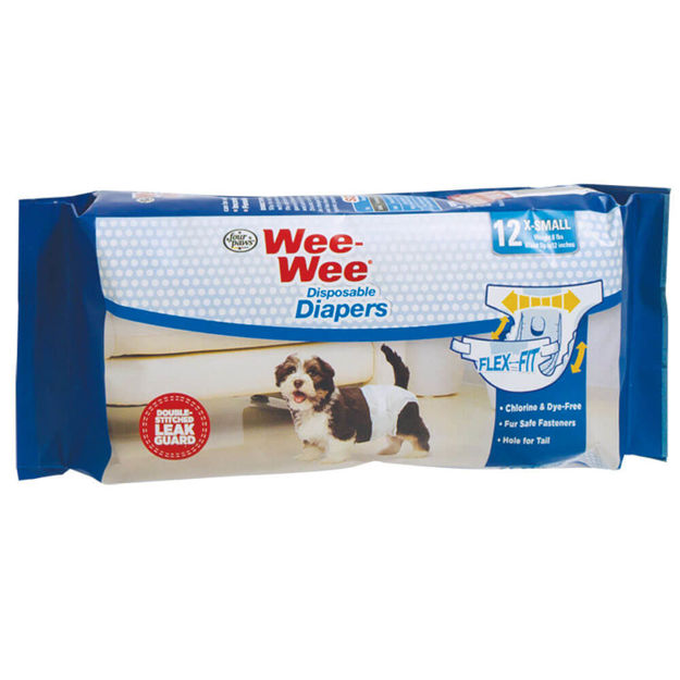Four Paws Wee-Wee Disposable Diapers 12 pack Extra Small White