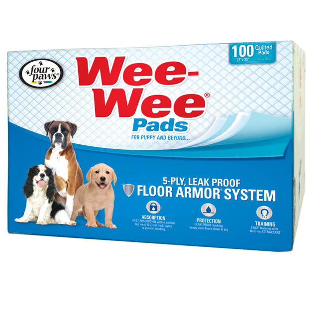 """Picture of Four Paws Wee-Wee Pads 100 pack box White 22"""" x 23"""" x 0.1"""""""
