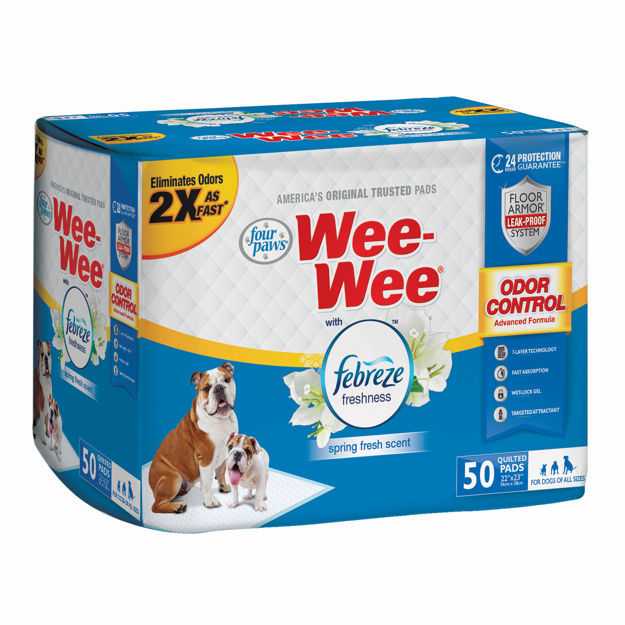 "Picture of Four Paws Wee-Wee Odor Control with Febreze Freshness Pads 50 count White 22"" x 23"" x 0.1"""
